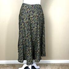 Salaam maxi/midi skirt size S long elastic waist Small Olive multicolor printed