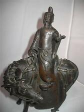 ANTIQUE 18th CHINESE BRONZE INCENSE BURNER SCHOLAR ON A HORSE FIGURE 24 cm HIGH!