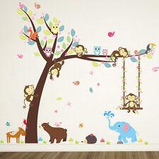 1 Set Cartoon Monkey Tree Jungle Themed Kids Room Removable Wall Sticker