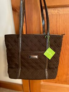 Vera Bradley Small Trimmed Vera Tote in Brown with Faux Leather Trim