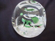 Vintage Art Glass Faceted Paperweight With Salamander Or Lizard Or Snake