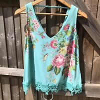 Oasis Museum of Royal Worcester Lace Trim Floral Bird print Vest Top 10 VGC