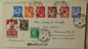 FRANCE 1946 STRASBOURG REGISTERED COVER TO U. S. + COLOURFUL SERIES OF 9 STAMPS