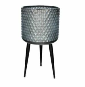 Large Hammered Galvanised Metal Plant Pot Cover Legs Stand Tripod Gisela Graham