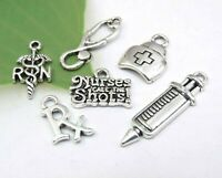 6 NURSE Charms, Antique Silver Mixed Charm Lot Set Collection for DIY Jewelry