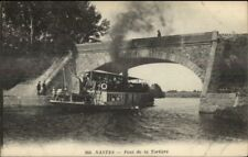 Nantes France Small Steamer Boat Pont de la Tortiere c1915 Postcard