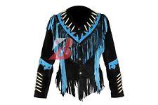 Women Western Suede Leather Jacket with Fringe,Bone & Studs NATIVE AMERICAN COAT