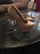 Qupid platform high heel shoes white cream with clear heel size 9