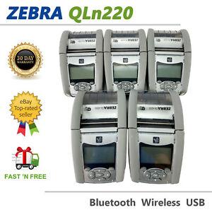 LOT OF 5 Zebra QLn220 Portable Barcode Thermal Printer Wireless Bluetooth USB