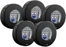 Edmonton Oilers Stanley Cup Finals Champions Souvenir Hockey 5-Puck Pack