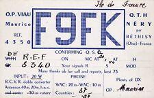 Y368 Carte QSL Radio Amateur Opérateur F9FK de VIAU a NERY par BETHISY Oise