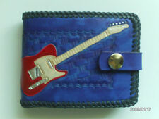 AW LEATHER GOODS BLUE TELECASTER HAND CARVED GUITAR WALLET