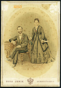 elegant couple by Rosa Jenik, Vienna, Vintage hand colored Cabinet Card, 1870's