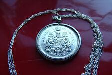 "SILVER Antique 1965 CANADA Half Dollar Coin Pendant  30"" 925 Silver Wavy Chain"