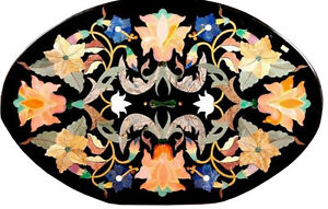 """18""""x36"""" Marble Dining Table Top Precious Mosaic Floral Inlay Living Decors H1647"""
