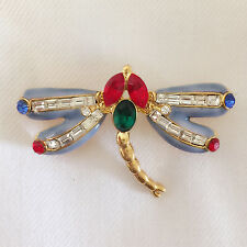 New Dragonfly Symbolism Spirit Power Totem & Power Red Blue Brooch Pin BR1135A