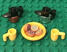 Lego New Coffee Pot W/ Mugs And Mini Figures Breakfast Food Plate,Donuts,cookies
