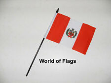 "PERU SMALL HAND WAVING FLAG 6"" x 4"" Peruvian Crafts Table Desk Display"