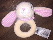 H&M Greifling Rassel Klapper Kopf Rosa Weiß Kariert Plüschtier Hase Rabbit Rund