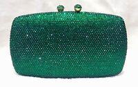 Dark Green Double Balls Lock Women Bridal/Prom/Evening Crystal Case Clutch Bag