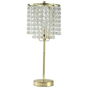GOLD ROUND CRYSTAL LIKE HANGING BEADS 19 INCHES TABLE LAMP