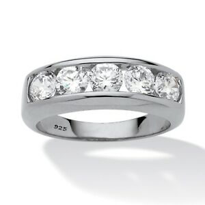 Men's 2.50 TCW CZ Platinum over .925 Silver Channel Ring