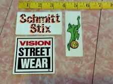 x3 old school 80's SKATEBOARD STICKERS Vintage VISION STREET WEAR & SCHMITT STIX
