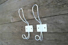A pair vintage French cafe style worn white steel coathook coat hook hanger rack