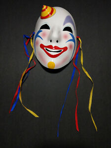 Vintage 1980's Pelzman Designs Vandor Japan Hand  Painted Ceramic Clown Mask