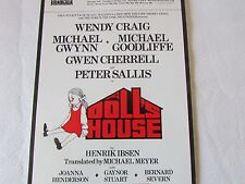 DOLLS House Peter SALLIS Wendy CRAIG 1972 BIRMINGHAM Original Theatre Flyer
