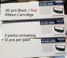 36 Premium Epson ERC 30/34/38 Black Red Ink Ribbon TM 200 TMU 220/230 Printer