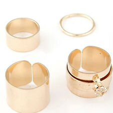 4PCS/Set Korea Urban Stack Plain Cute Above Knuckle Ring Wide Band Midi Rings