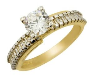 SOLID 14k REAL GOLD 1.50 tcw Simulated Diamond Engagement Wedding Ring
