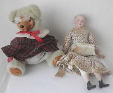 Robert Raikes TEACHER Bear & Vintage GRANDMA Bisque/Soft Body Doll