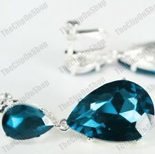 CLIP ON 4cm BIG CRYSTAL DROPS EARRINGS london blue peacock/silver SPARKLY GLASS