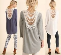 SML UMGEE DOLPHIN-GREY or OFF WHITE Crochet Back Surplice Top/Shirt/Blouse BHCS