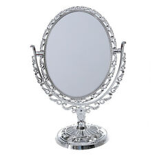 SILVER VANITY MAKE UP COSMETIC TABLE BATHROOM MIRROR ON FOOT STAND DT