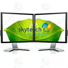 "2x 19"" Cheap Monitor VGA TFT LCD Office Laptop Computer PC Dual Flat Monitor B"