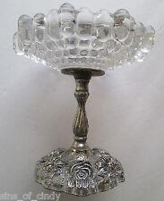 Vtg Cast Pewter & Glass Pedestal Compote Dish Bowl GEM ACC Hollywood Regency