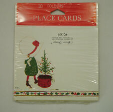 Vtg American Greetings Holiday Christmas Place Cards Nos Qty 10 Girl Bonnet Tree