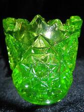 neon Green Vaseline glass toothpick holder star cut pattern uranium radioactive