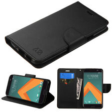 For HTC 10 Phone Leather Cover Case Wallet Protective Stand Pouch Folio BLACK