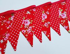Red Floral and Red with White Spots Bunting Double Sided Cotton Flags 2m Roses