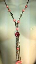 Lungo rosa con perline e Vetro Collana Di Pietra