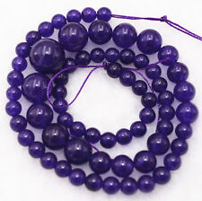 Lovely!6-14mm Amethyst Round Beads Gemstone  Loose beads 17""
