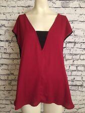 Forever 21 + Plus Size Dark Red Burgundy 1X Short Sleeve Sheer Black Trim Blouse