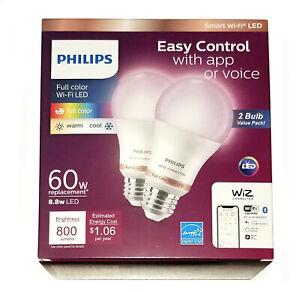 Philips 2-Pack WIZ Smart Light Bulbs Wi-Fi LED FULL COLOR (8.8W) 800 Lumens 60W
