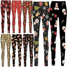 New Ladies Reindeer Face Snowflakes Tartan Check Santa Candy Stick Xmas Leggings
