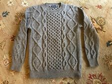 Fisherman Out of Ireland Aran Cabled Crew Neck Merino Wool Sweater in Mens Large