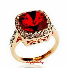 18k Rose Gold Plated Ruby Red Garnet Party Square Crystal Ring Size 7 R136